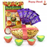 Wonderful Assortment - Assorted Dry Fruits Basket 200 gms, 5 Dairy Milk Bars with 4 Diyas and Laxmi-Ganesha Coin