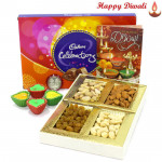 Special Dryfruit Mix - Assorted Dryfruits 200 gms, Celebration with 4 Diyas and Laxmi-Ganesha Coin