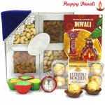 Rich n Delicious - Assorted Dry Fruits 200 gms, Ferrero Rocher 16 pcs with 4 Diyas and Laxmi-Ganesha Coin