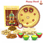 Rich Sweet Dry Thali - Puja Thali (W), Assorted Dry Fruits 200 gms, Kaju Katli 250 gms with 4 Diyas and Laxmi-Ganesha Coin
