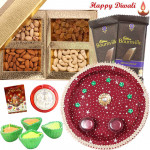 Divine Thali - Puja Thali (M), Assorted Dry Fruits 200 gms, 2 Bournville with 4 Diyas and Laxmi-Ganesha Coin