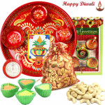 Kaju Treat Thali - Cashew 200 gms Potli, Meenakari Thali 6 inch with 4 Diyas and Laxmi-Ganesha Coin