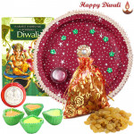 Raisins Thali - Raisins 200 gms Potli, Puja Thali (R) with 4 Diyas and Laxmi-Ganesha Coin