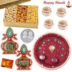 Wonderful Thali - Puja Thali (M), Assorted Dry Fruits 200 gms Box, Kalash Shubh Labh with 4 Diyas and Laxmi-Ganesha Coin