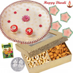 Cashew with Almonds Thali - Puja Thali (W), Cashew Almonds 200 gms in Box with 4 Diyas and Laxmi-Ganesha Coin