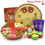 Mix Dry Basket Thali - Puja Thali (W), Assorted Dry Fruits Basket 200 gms, 2 Dairy Milk Bars with 4 Diyas and Laxmi-Ganesha Coin