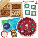 Alluring Thali - Assorted Dry Fruits 200 gms, Puja Thali (M), Cadbury Celebrations with 4 Diyas and Laxmi-Ganesha Coin