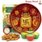 Crunchy Nuts Thali - Almonds 200 gms, Meenakari Thali 6 inch with 4 Diyas and Laxmi-Ganesha Coin