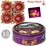 Uphaar Hamper - 4 in 1 Diya Thali, Danish Cookies with Laxmi-Ganesha Coin