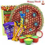 Spiritual Pooja Thali - Puja Thali (M), 5 Cadbury Bars with 4 Diyas and Laxmi-Ganesha Coin