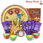 Rich Chocolaty Treat - Puja Thali (W), 5 Assorted Bars, 5 Dairy Milk Bars with 4 Diyas and Laxmi-Ganesha Coin