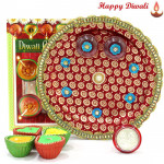 Religious Gift - Puja Thali (M) with 4 Diyas and Laxmi-Ganesha Coin