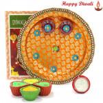 Godly Gift - Puja Thali (O) with 4 Diyas and Laxmi-Ganesha Coin