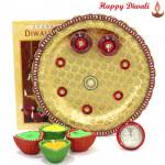 Spiritual Gift - Puja Thali (W) with 4 Diyas and Laxmi-Ganesha Coin