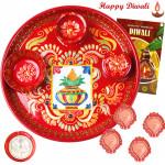 Handicrafted Gift - Meenakari Thali 6 inch with 4 Diyas and Laxmi-Ganesha Coin