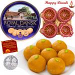 Wonderful Hamper - Danish Cookies, Kanpuri Laddoo, 4 in 1 Diya Thali with Laxmi-Ganesha Coin
