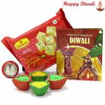 Soan papdi Treat - Haldiram Soan Papdi with 4 Diyas and Laxmi-Ganesha Coin