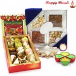 Best Diwali Gift - Kaju Mix 250 gms, Kaju Katli 250 gms, Assorted Dryfruits 200 gms with 4 Diyas and Laxmi-Ganesha Coin