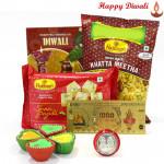 Sweet Celebration - Haldiram Soan Papdi 250 gms, Haldiram Namkeen, 24 Carat Gold Plated Dhan Laxmi Varsha Note with 4 Diyas and Laxmi-Ganesha Coin