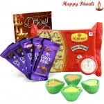 Sweet Fantasy - Haldiram Soan Papdi 250 gms, 5 Dairy Milk Bars with 4 Diyas and Laxmi-Ganesha Coin