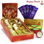 Mix Hamper - Kaju Mix 250 gms, 5 Dairy Milk Bars, 24 Carat Gold Plated Dhan Laxmi Varsha Note with 4 Diyas and Laxmi-Ganesha Coin