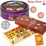 Sweet Treat - Kaju Mix 500 gms, Danish Cookies 454 gms with 2 Diyas and Laxmi-Ganesha Coin