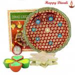 Kaju Sweets Thali - Kaju Katli, Puja Thali (M) with 4 Diyas and Laxmi-Ganesha Coin