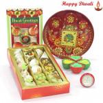 Kaju Mix Thali - Kaju Mix, Meenakari Thali 6 inch with 4 Diyas and Laxmi-Ganesha Coin