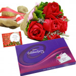 Wonderful Treat - 12 Red Roses + Cadbury's Celebrations Pack + Card