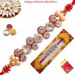 Elegant Diamond & Pearl Fancy Rakhi