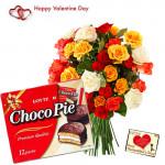 Valentine Chocopie - 15 Mix Roses + Chocopie 330 gms + Card