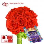 Valentine Choco Treat - 20 Red Roses + 5 Cadbury Chocolates + Card