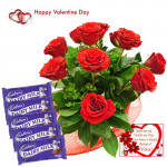 Roses & Dairy Milk - 12 Red Roses Bunch + 5 Dairy Milk 13 gms each + Card