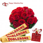 Valentine Sweet Gift - 15 Red Roses Bouquet + 3 Toblerone 50 gms each + Card
