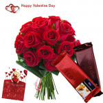 Roses & Temptation - 25 Red Roses Bunch + 2 Cadbury Temptations + Card