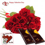 Choco with Love - 15 Red Roses bunch + 2 Bournville + Card