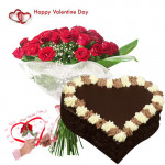 Valentine Sweet Moments - 25 Red Roses + Chocolate Heart Cake 1 kg + Card