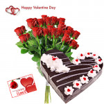 Valentine Lovely Wish - 20 Red Roses + Black Forest Heart Cake 2 kg + Card