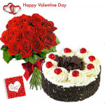 Valentine Love Combo - 12 Red Roses + Black Forest Cake 1/2 kg + Card