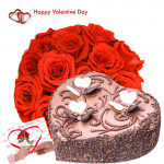 Valentine Cake Treat - 15 Red Roses + Chocolate Heart Cake 1 kg + Card
