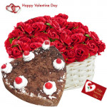 Roses & Black Forest Cake - 15 Red Roses Basket + Black Forest Heart Cake 1 kg + Card