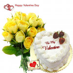 Way of Love - 15 Yellow Roses + Pineapple Heart Cake 1 kg + Card