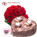 Valentine Chocolaty Love - 15 Red Roses + Chocolate Heart Cake 2 kg + Card
