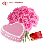 Valentine Pink Treat - 15 Pink Roses + Strawberry Heart Cake 1 kg + Card
