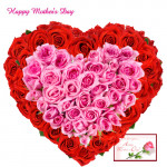 Feel My Heart - Heart Shaped Arrangement of 50 Pink & Red Roses and Card