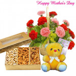 "Mother's Delight - 20 Pink and Red Carnations in Basket, Assorted Dryfruit Box, Teddy 6"" and Card"