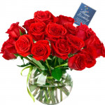 Red Roses Vase - 10 Artificial Red Roses + Card