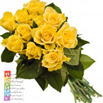 Yellow Roses - 10 Artificial Yellow Roses + Card
