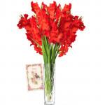 Artificial Lily Vase - 12 Artificial Lily Vase + Card
