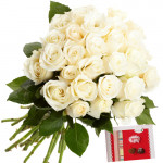 Purity - 20 White Roses Bouquet + Card